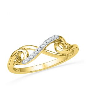 10k Yellow Gold Round Diamond Womens Infinity Knot Band Ring 1/20 Cttw