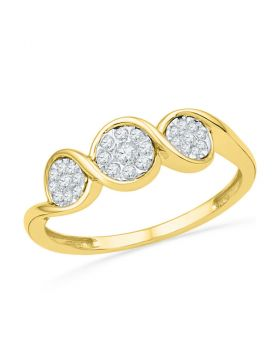 10kt Yellow Gold Womens Round Diamond Triple Cluster Ring 1/6 Cttw