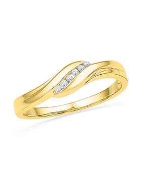 10k Yellow Gold Round Diamond Womens Daily-wear Simple Classic Band 1/20 Cttw