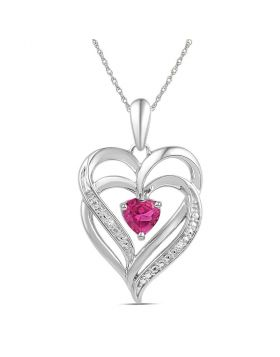 Sterling Silver Womens Round Lab-Created Pink Sapphire Double Heart Pendant 3/4 Cttw