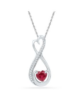Sterling Silver Womens Heart Lab-Created Ruby Solitaire Diamond Infinity Heart Pendant 5/8 Cttw