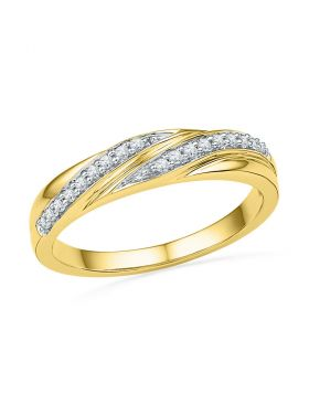 10kt Yellow Gold Womens Round Diamond Simple Band Ring 1/10 Cttw