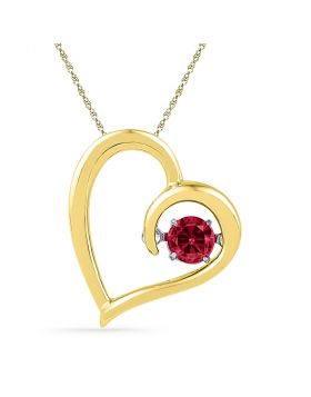 10kt Yellow Gold Womens Round Lab-Created Ruby Heart Pendant 1/5 Cttw
