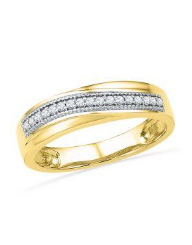10k Yellow Gold Womens Round Diamond Wedding Anniversary Band 1/6 Cttw