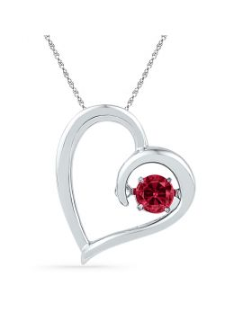Sterling Silver Womens Round Moving Twinkle Lab-Created Ruby Heart Pendant 1/5 Cttw