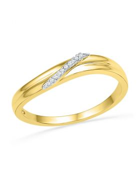 10kt Yellow Gold Womens Round Diamond Simple Single Row Band Ring .03 Cttw