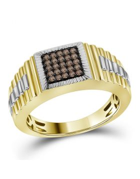 10KT YELLOW GOLD ROUND COGNAC-BROWN COLOR ENHANCED DIAMOND SQUARE CLUSTER RIBBED RING 1/4 CTTW