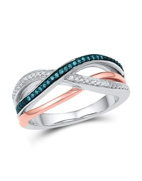 10kt White Gold Womens Round Blue Color Enhanced Diamond Crossover Band Ring 1/10 Cttw