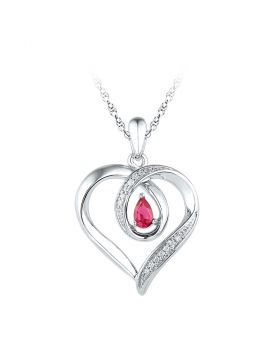Sterling Silver Womens Pear Lab-Created Ruby Heart Pendant 1/4 Cttw