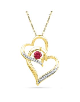 10kt Yellow Gold Womens Round Lab-Created Ruby Heart Pendant 1/3 Cttw