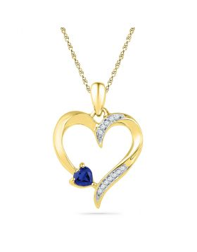10kt Yellow Gold Womens Round Lab-Created Blue Sapphire Heart Pendant 1/20 Cttw