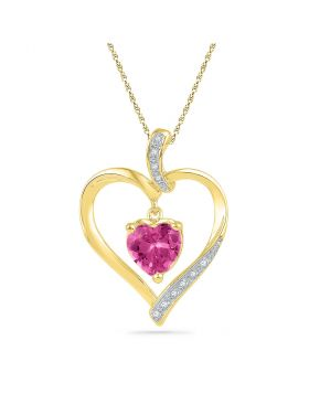 10kt Yellow Gold Womens Round Lab-Created Pink Sapphire Heart Pendant 1-3/4 Cttw