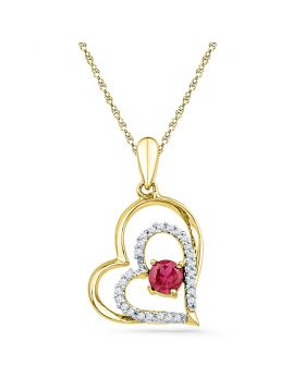 10kt Yellow Gold Womens Round Lab-Created Ruby Heart Pendant 1/2 Cttw