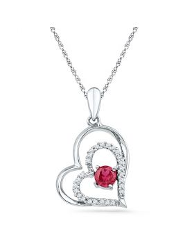 Sterling Silver Womens Round Lab-Created Ruby Solitaire Double Heart Pendant 1/2 Cttw