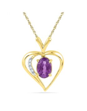 10kt Yellow Gold Womens Oval Lab-Created Amethyst Heart Pendant 3/4 Cttw