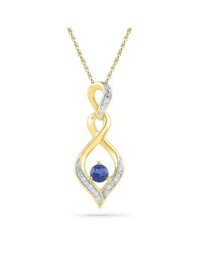 10kt Yellow Gold Womens Round Lab-Created Blue Sapphire Solitaire Diamond Pendant .02 Cttw