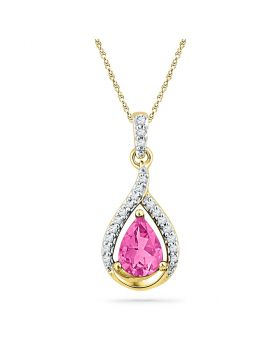 10kt Yellow Gold Womens Pear Lab-Created Pink Sapphire Solitaire Diamond Pendant 1-5/8 Cttw