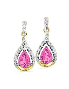 10kt Yellow Gold Womens Lab-Created Pink Sapphire Dangle Earrings 3-1/5 Cttw