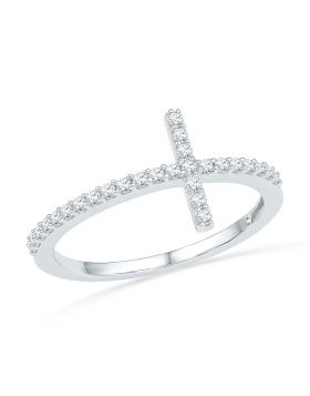 10kt White Gold Womens Round Diamond Cross Band Ring 1/5 Cttw