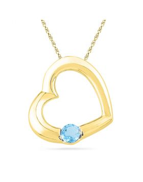 10kt Yellow Gold Womens Round Lab-Created Blue Topaz Heart Pendant 1/6 Cttw