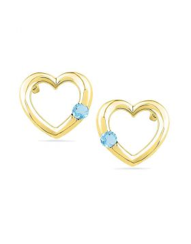 10kt Yellow Gold Womens Round Lab-Created Blue Topaz Heart Earrings 1/8 Cttw