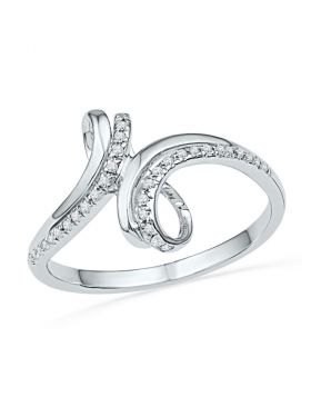 10kt White Gold Womens Round Diamond Bypass Band Ring 1/10 Cttw