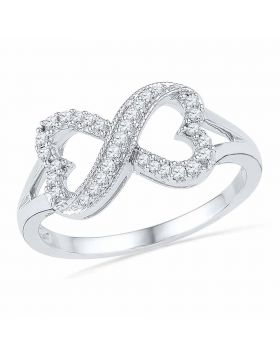 10kt White Gold Womens Round Diamond Infinity Heart Ring 1/6 Cttw