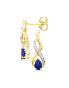 10kt Yellow Gold Womens Pear Lab-Created Blue Sapphire Diamond Stud Earrings 1/20 Cttw