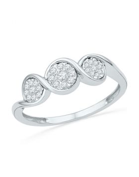 10kt White Gold Womens Round Diamond Triple Cluster Ring 1/6 Cttw