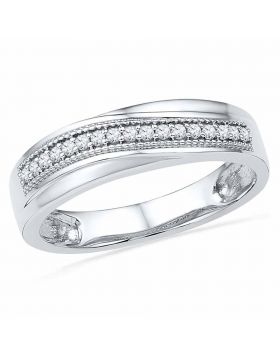 10k White Gold Womens Round Diamond Wedding Anniversary Band 1/6 Cttw