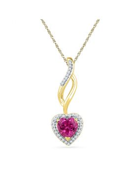 10kt Yellow Gold Womens Round Lab-Created Pink Sapphire Solitaire Pendant 1.00 Cttw