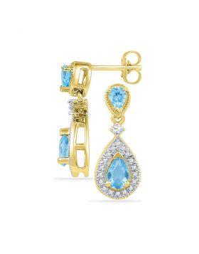 10kt Yellow Gold Womens Pear Lab-Created Blue Topaz Dangle Diamond Earrings 1-1/2 Cttw