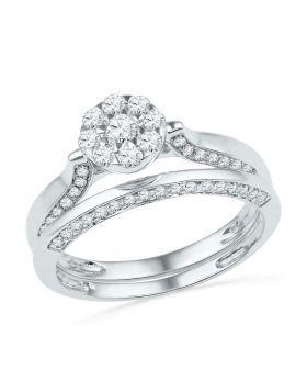 10k White Gold Womens Round Diamond Cluster Bridal Wedding Engagement Ring Set 5/8 Cttw