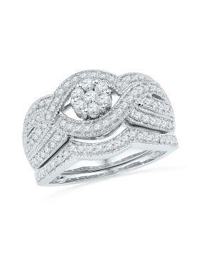 10kt White Gold Womens Diamond Cluster Twist Bridal Wedding Engagement Ring Band Set 3/4 Cttw