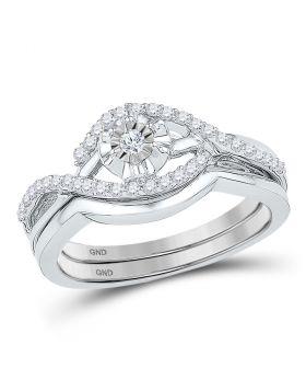 10k White Gold Womens Round Diamond Solitaire Wedding Bridal Engagement Ring Set 1/4 Cttw