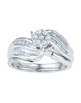 10kt White Gold Womens Diamond Flower Cluster Bridal Wedding Engagement Ring Band Set 1/2 Cttw