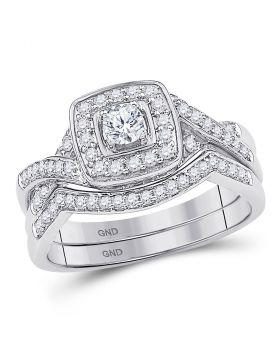 10kt White Gold Womens Round Diamond Twist Bridal Wedding Engagement Ring Band Set 1/2 Cttw