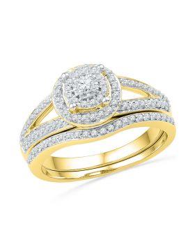 10kt Yellow Gold Womens Round Diamond Halo Split-shank Bridal Wedding Engagement Ring Band Set 1/2 Cttw