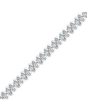 10kt White Gold Womens Round Diamond Tennis Bracelet 1/10 Cttw