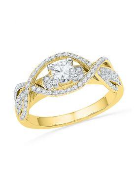14k Yellow Gold Womens Round Diamond Woven Bridal Wedding Engagment Anniversary Ring 1/2 Cttw