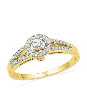 10kt Yellow Gold Womens Round Diamond Solitaire Split-shank Bridal Wedding Engagement Ring 1/4 Cttw