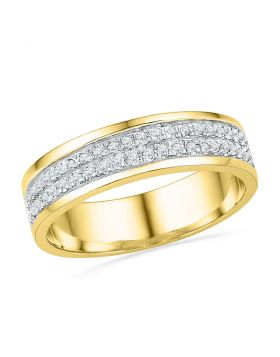 10kt Yellow Gold Womens Round Diamond 2-row Band Ring 1/5 Cttw