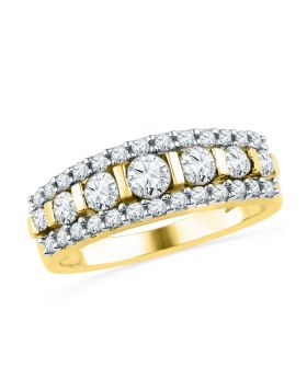 10kt Yellow Gold Womens Round Channel-set Diamond Striped Band Ring 1.00 Cttw