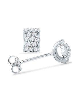 10kt White Gold Womens Round Diamond Flower Cluster Screwback Earrings 1/6 Cttw