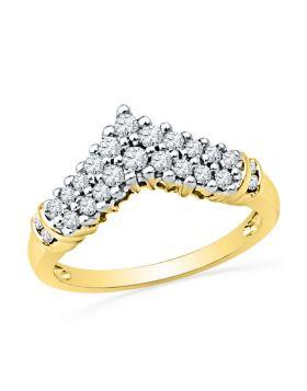 10k Yellow Gold Womens Round Diamond Chevron Band Ring 1/2 Cttw