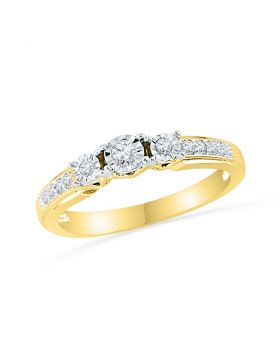 10kt Yellow Gold Womens Round Diamond 3-stone Bridal Wedding Engagement Ring 1/5 Cttw