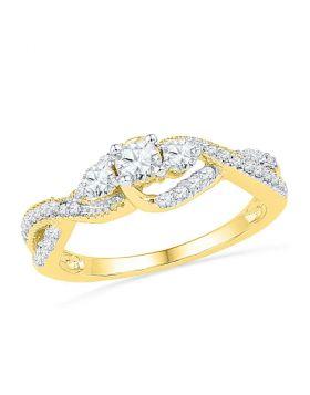 10k Yellow Gold Womens Round Diamond 3-stone Bridal Wedding Engagement Ring 5/8 Cttw
