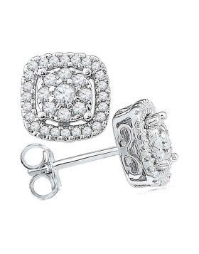 10kt White Gold Womens Round Diamond Framed Square Cluster Screwback Earrings 1/2 Cttw