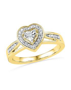 10kt Yellow Gold Womens Round Diamond Heart Love Ring .03 Cttw