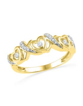 10kt Yellow Gold Womens Round Diamond Heart Band Ring 1/8 Cttw